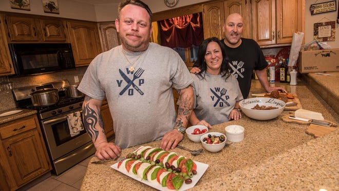 Joe Grasso of Long Branch (from left), Maria Jelliff of West Long Branch and Tom Fornicola of Ocean Township are three of the founders of the Facebook page What's On Your Plate. Not pictured are Dave Strollo and Anthony Giordano.