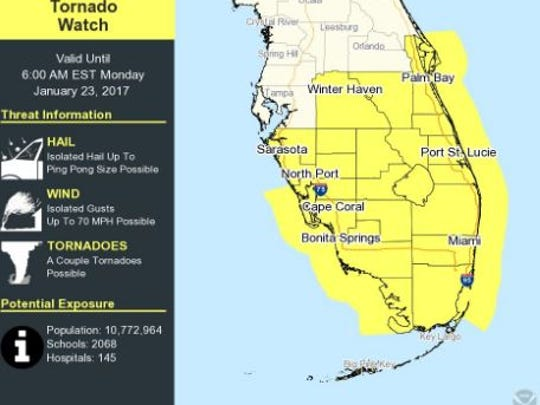 A tornado watch for Brevard and south Florida is in effect until 6 a.m. Monday.