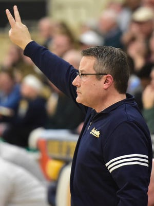 Greencastle's Rick Lewis coaches the Blue Devils. Greencastle defeated Donegal 77-61 in PIAA D3 playoffs on Monday, February 19, 2018.