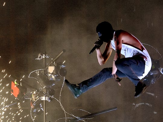 Musician Tyler Joseph of Twenty One Pilots performs at last year's American Music Awards.
