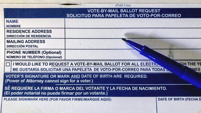 A Volusia County mail-in ballot request form.