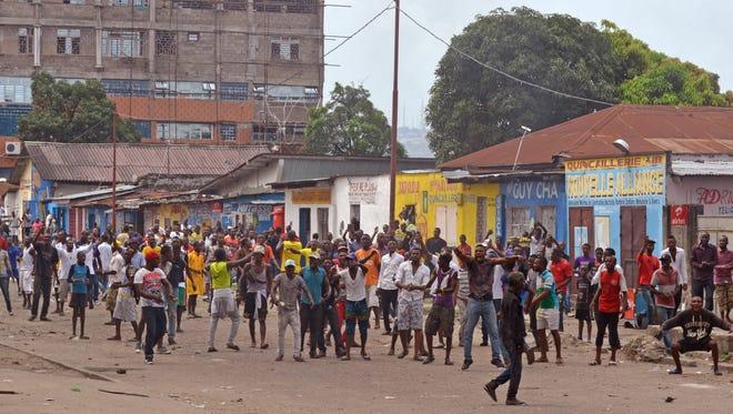 A 2015 protest in the city of Kinshasa, Democratic Republic of Congo.