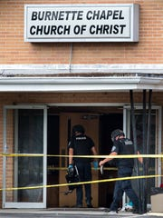 Metro Nashville Police investigate following a shooting at the Burnette Chapel Church of Christ in Antioch, Tenn., Sunday, Sept. 24, 2017.