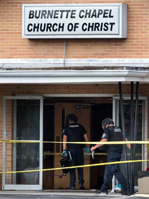 Metro Nashville Police investigate following a shooting at the Burnette Chapel Church of Christ in Antioch, Tenn., Sunday, Sept. 24, 2017. A gunman opened fire in the Nashville area church leaving one dead and seven wounded.