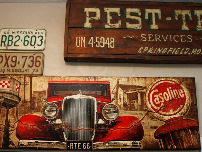 A Route 66 themed painting in Mother Road Antiques and Uniques on College Street.