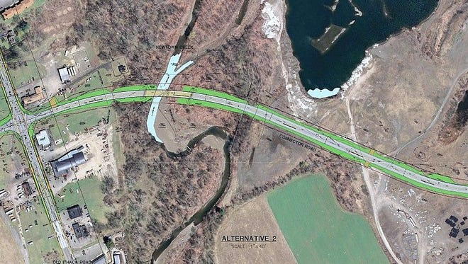 This map shows a portion of a proposed connector road in Horseheads.