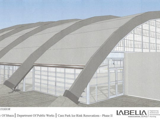 An artist's rendering of an enclosed ice rink at Cass Park in Ithaca.