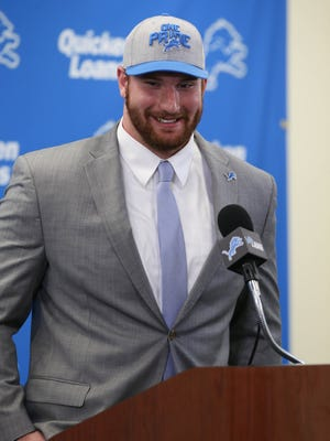 Lions first-round draft pick Arkansas center Frank Ragnow talks to reporters April 27 in Allen Park.