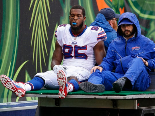 Buffalo Bills tight end Charles Clay (85) is carted