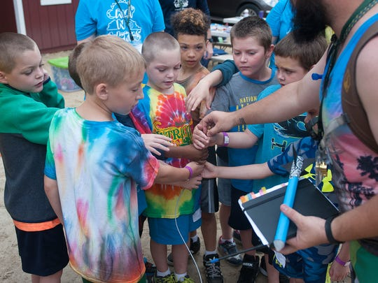 Kids gather for a rocket launch game at Camp No Worries, a program of the YMCA of Burlington and Camden Counties.