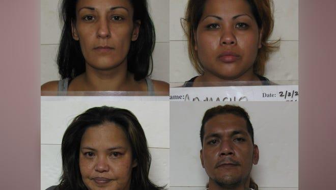A combined mugshot of Bobbie Lynn Viloria, Georgina Joleen Camacho, Jesse Junior Toves and Luciana Pereira Unchangco