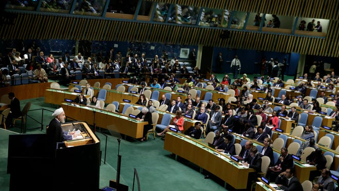 Iran's President Hassan Rouhani speaks during the 70th session of the United Nations General Assembly at U.N. headquarters, Sept. 28, 2015.