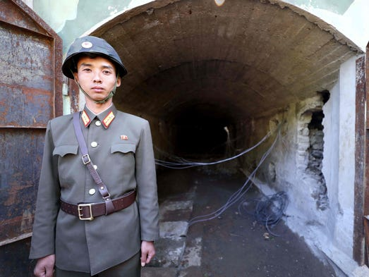 A North Korea People's Army (KPA) soldier stands at