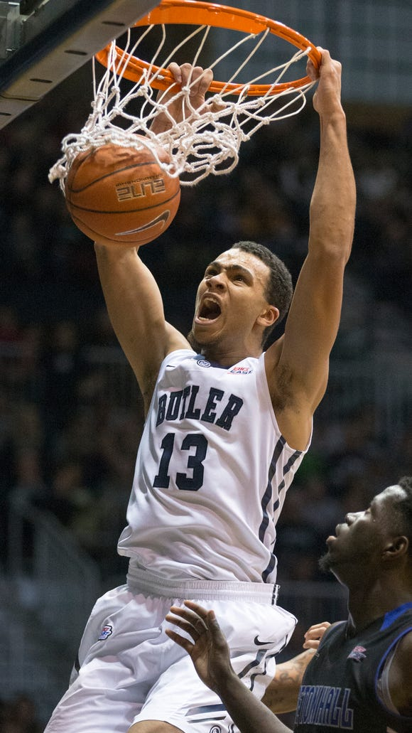 Butler's Jackson Davis scores on a dunk during the Bulldogs' 77-57 victory over Seton Hall on Jan. 25, 2015 at Hinkle Fieldhouse.