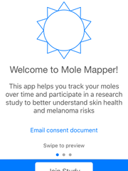 A screen shot of the Mole Mapper app for the iPhone. The app was developed by a national team of melanoma scientists to help users monitor and track moles and other skin conditions that could be the early sign of skin cancer.