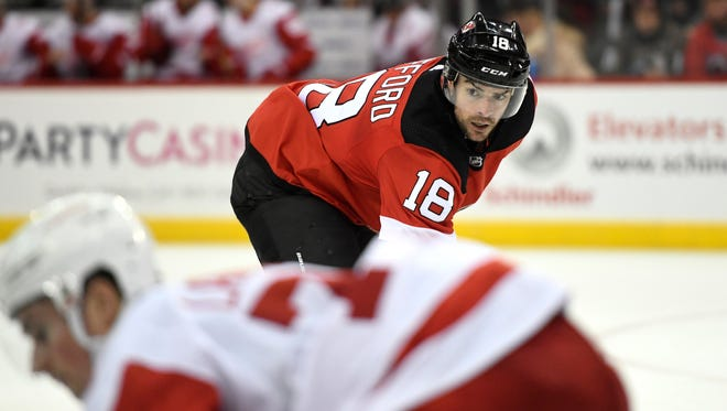 New Jersey Devils right wing Drew Stafford (18). The Detroit Red Wings defeat the New Jersey Devils 3-0 in Newark, NJ on Monday, January 22, 2018.