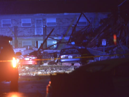 Major storm damage at the Moorings Apartments off of