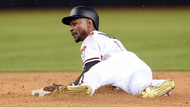May 2, 2018: Arizona Diamondbacks center fielder Jarrod Dyson (1) steals second base against the Los Angeles Dodgers during the ninth inning at Chase Field.