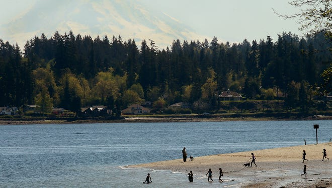 Mount Rainier looms in the background as silhouetted beachgoers frolick along the shore south of Illahee State Park.  The incorrect claim that Kitsap County has the most shoreline in the state and country has surfaced in printed materials and online in multiple instances. (MEEGAN M. REID / KITSAP SUN)