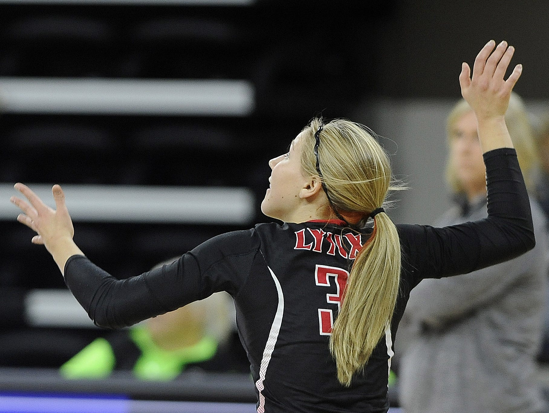 Brandon Valley's #3 Becca Koehn severs the volleyball to Roosevelt during state volleyball action at the Denny Sanford Premier Center in Sioux Falls, S.D., Thursday, Nov. 19, 2015.