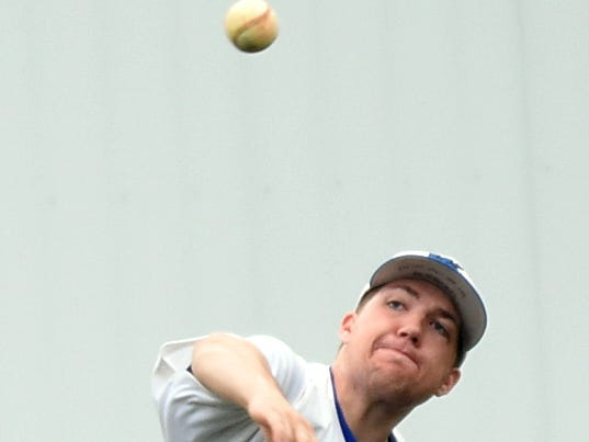 White House High senior third baseman Jake Jarvis throws to first base for a third-inning putout.