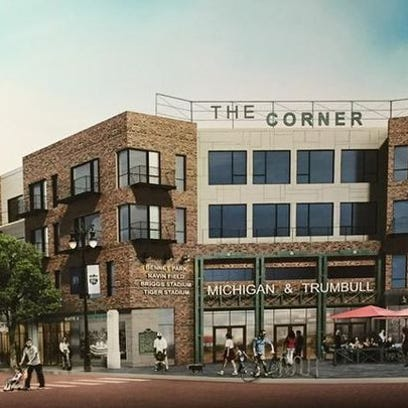 """A rendering shows """"The Corner,"""" the Eric Larson plan"""