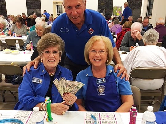 On Feb. 1, the Knights of Columbus San Marco Council #6344 hosted a bingo fundraiser in the San Marco Parish Center. Above, 50/50 winners, Mary Kay and Barbara D.