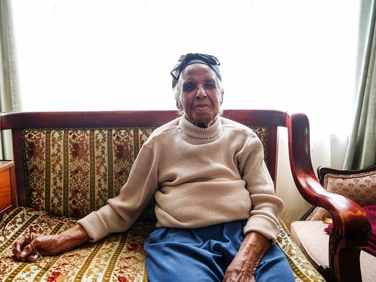 """Bernice Bohannon poses for a portrait at her Indianapolis home, Friday, March 10, 2017. Bohannon turns 107 years old March 14, and celebrated at a party with family on Saturday, March 11, 2017. Bohannon credits her long life simply to laughter and """"loving everybody."""" Bohannon is a long-time member of Bethel African Methodist Episcopal Church and practices her love of sewing and cooking almost daily."""