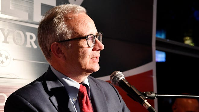 Mayor David Briley speaks to his supporters at his Election Night party Thursday, May 24, 2018, at Cabana in Nashville, Tenn. Briley won Thursday''s election to fill the remaining time on former Mayor Megan Barry's term.  .