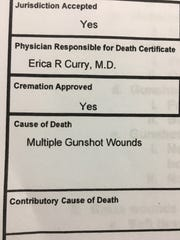A snapshot of one section of the autopsy report related