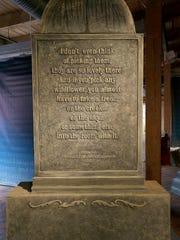 """This sculptural monument from Terese Agnew's """"Writing in Stone"""" contains a quote from Emma Toft, who was known as """"Wisconsin's First Lady of Conservation."""""""