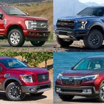 Clockwise from upper left: 2017 Ford F-250, 2017 Ford F-150 Raptor, 2017 Honda Ridgeline and 2017 Nissan Titan half-ton