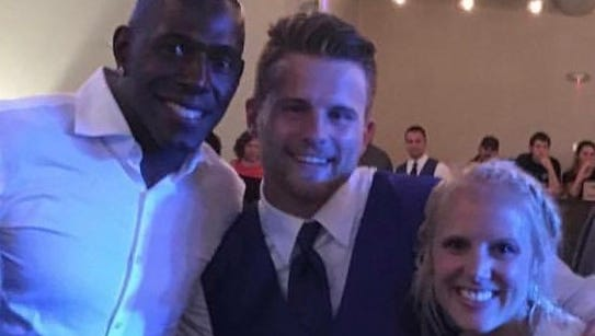 Newlyweds Joe and Katie Schlueter of Green Bay got quite a surprise when Donald Driver popped in at their wedding reception on Saturday night at Titletown Brewing Co.
