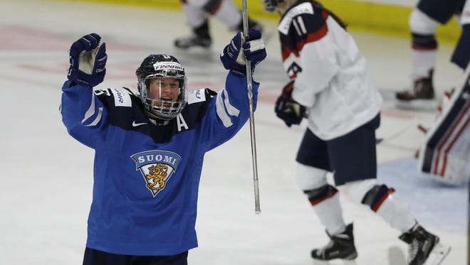Finland forward Riikka Valila celebrates a goal by a teammate against the United States on Monday.