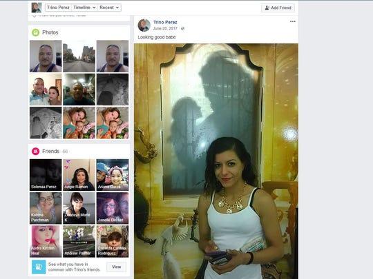 A screenshot of Trinidad Perez's Facebook account shows