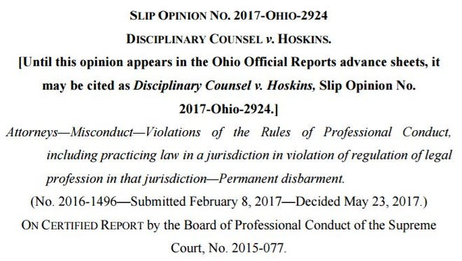 Screenshot of Ohio Supreme Court opinion in Disciplinary Counsel v. Hoskins