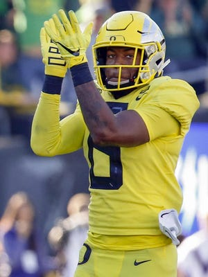 Oregon defensive back Jevon Holland (8) is on the preseason watch list for the Thorpe Award. [Andy Nelson/The Register-Guard] - registerguard.com