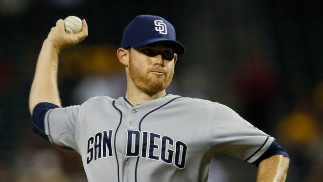Padres pitcher Ian Kennedy throws to the Diamondbacks in the first inning at Chase Field on Aug. 27, 2013.