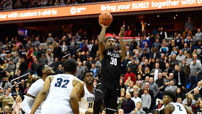 Butler Bulldogs forward Kelan Martin (30) makes the game winning shot against the Georgetown Hoyas during the second overtime at Capital One Arena.