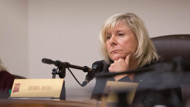Debra Hicks, during the Wednesday November 8, 2017 New Mexico State University Regents meeting, where the regents approved working with the company Wheels Partners in their search for a new Chancellor.