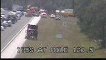 Still from the Florida Department of Transportation's I-75 traffic camera. Emergency vehicles are responding to a crash at mile marker 120