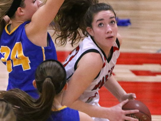 Homestead's Chloe Marotta drives to the basket in a