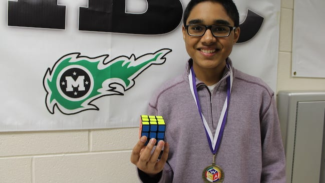 Mason High School student Sreeram Venkatarao set a U.S. record for solving a Rubik's Cube on Feb. 6.