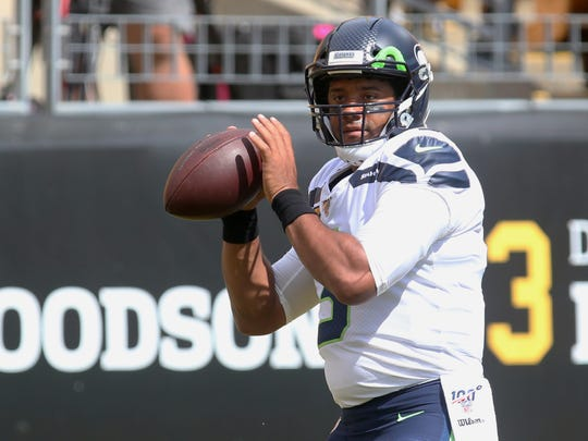 Sep 15, 2019; Pittsburgh, PA, USA; Seattle Seahawks quarterback Russell Wilson (3) warms up before playing the Pittsburgh Steelers at Heinz Field. Mandatory Credit: Charles LeClaire-USA TODAY Sports