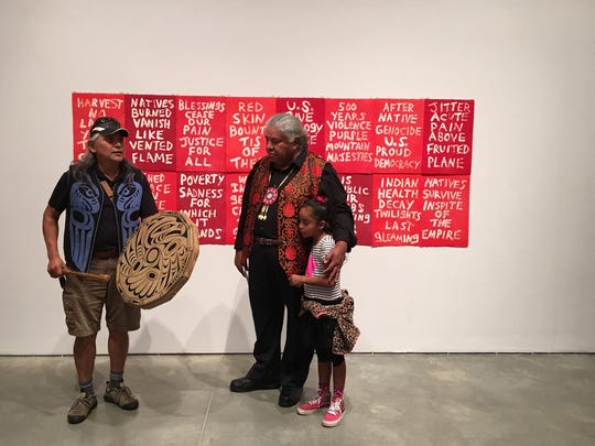 Edgar Heap of Birds combines words in his prints that reference Native American struggles, combined and in stark contrast to familiar words and phrases from American writings extolling the virtues of the country.