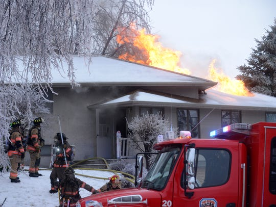 Firefighters kept busy during the ice storm with fires