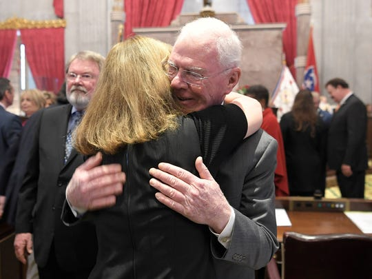 Tennessee Rep. Charles Sargent hugs House Speaker Beth