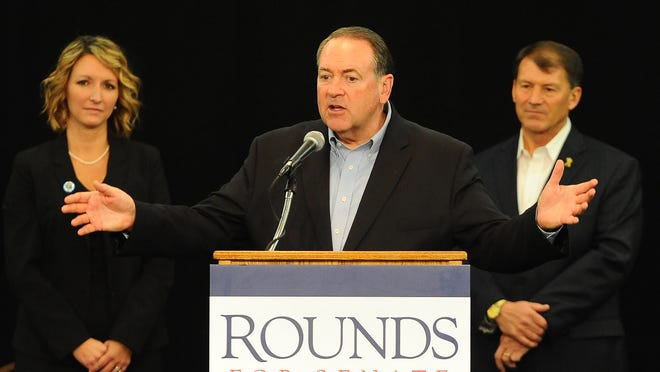 Former Arkansas Gov. Mike Huckabee voices his support of Mike Rounds on Friday at the Sioux Falls Best Western Plus Ramkota Hotel. Rounds, former South Dakota governor, is the Republican nominee for U.S. Senate.