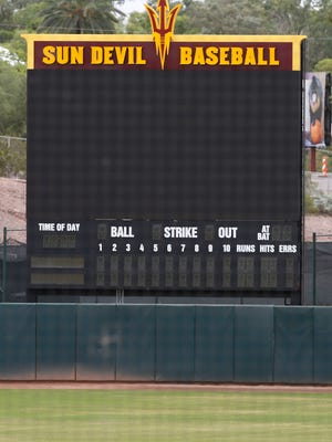 A large new video board sits in center field at ASU's new baseball home at Phoenix Municipal Stadium.