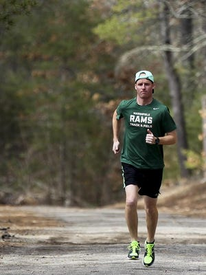 Dennis Sheppard, 36, of Quincy, ran the virtual Boston Marathon on Monday, Sept. 7 with the Samaritans Boston Marathon Team to raise awareness for suicide prevention. Sheppard also coaches track and cross country at Marshfield High School. Wicked Local file photo